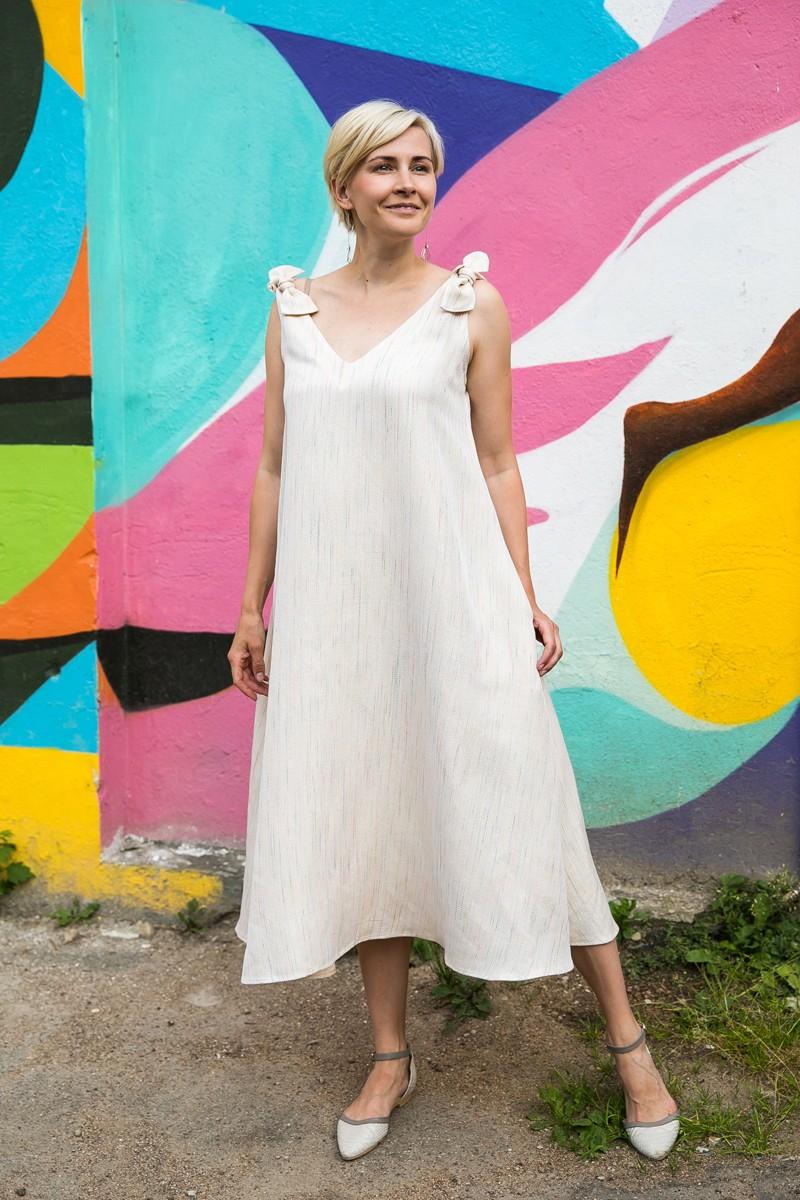 Платье – сарафан с шёлком и хлопком, окрашены вручную