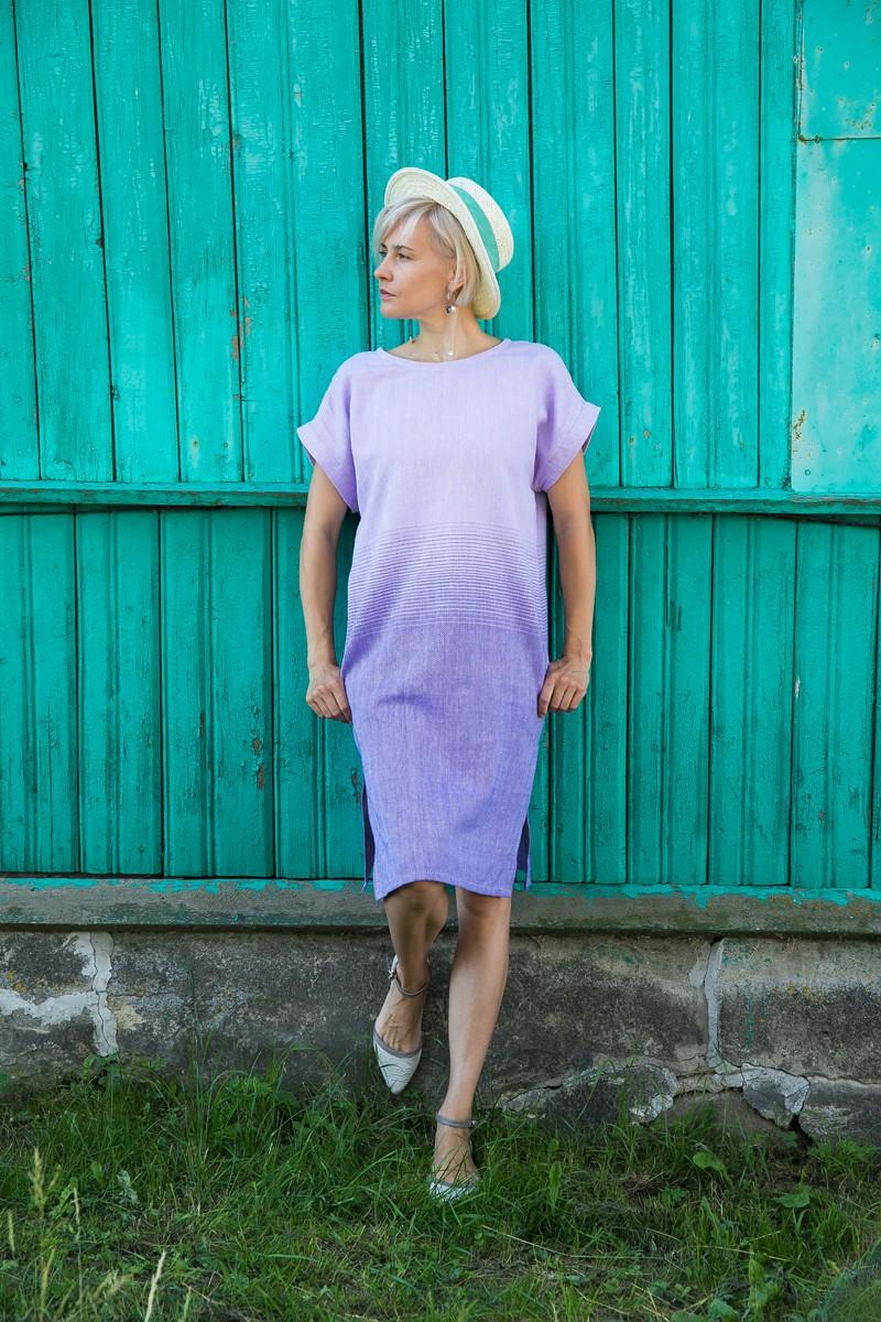 Платье Эдем с тканым градиентом цвета. Сиреневый + фиолетовый.