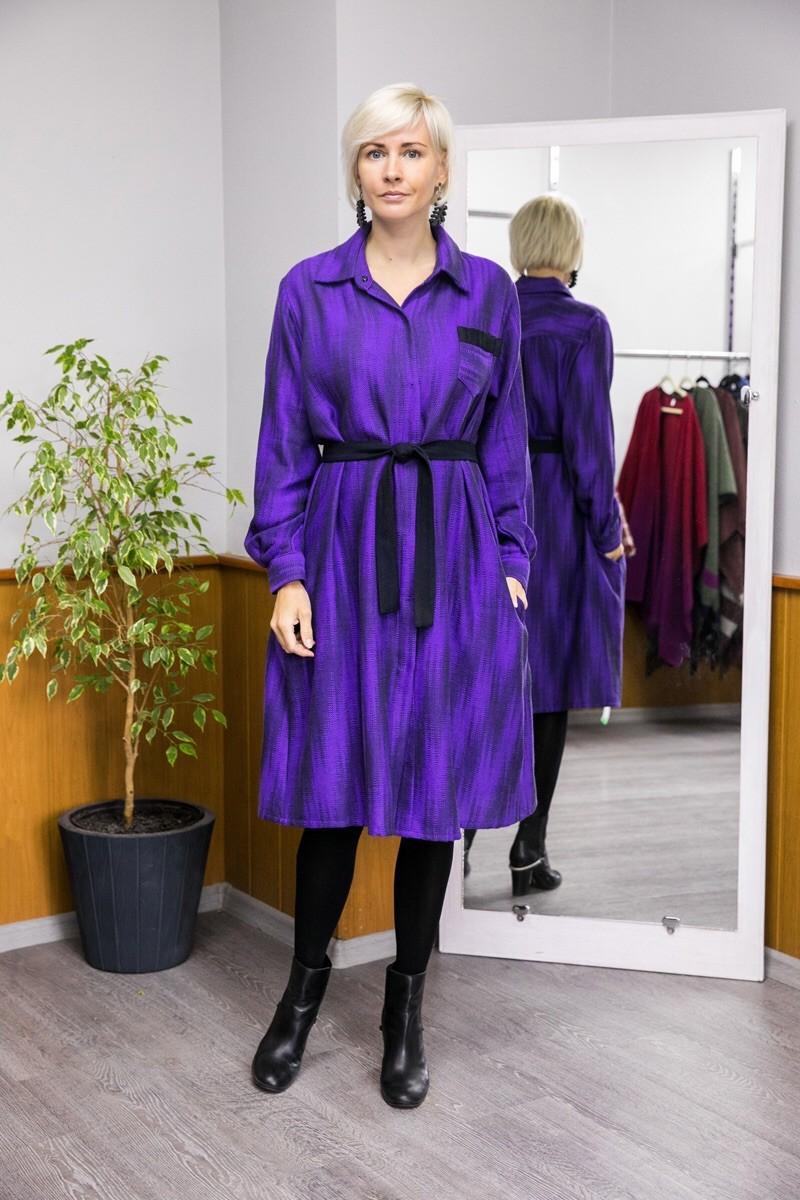 Платье-рубашка. Фиолетовое