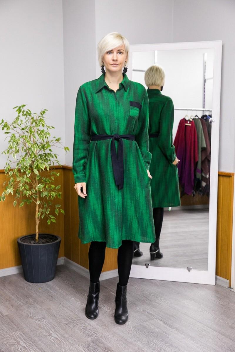 Платье-рубашка. Зелёное