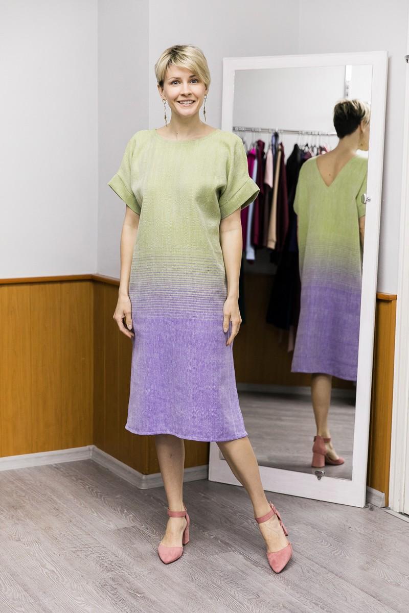 Платье Эдем с тканым градиентом цвета. Оливка + пыльный фиолетовый