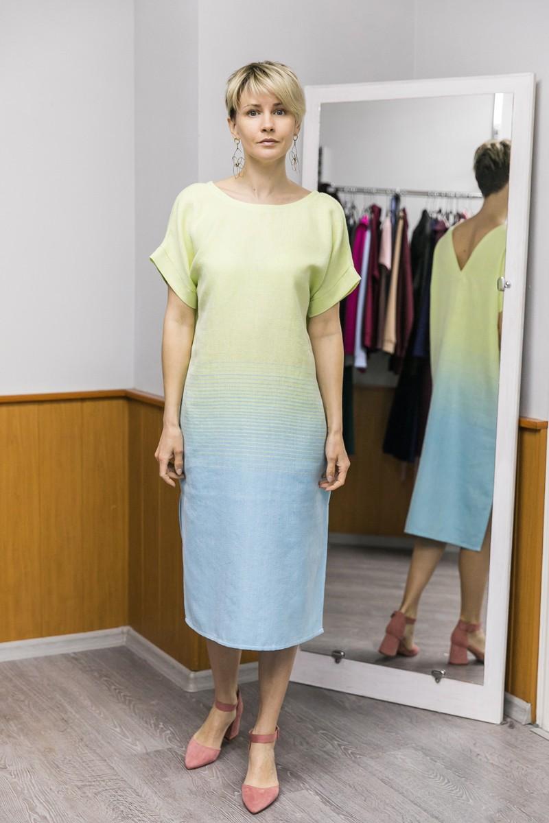 Платье Эдем с тканым градиентом цвета. Лимонный + голубой