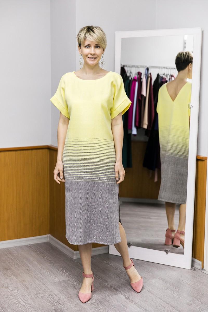Платье Эдем с тканым градиентом цвета. Жёлтый + коричневый