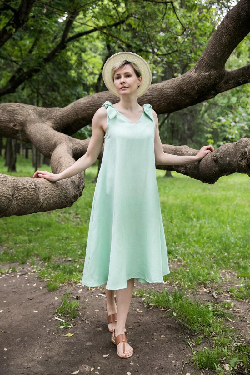 Платье с завязками. Мята