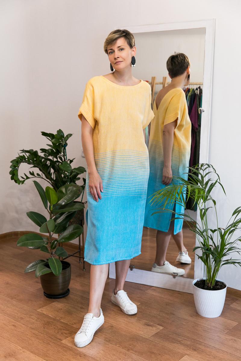 Платье Эдем с тканым градиентом цвета. Персиковый + голубой